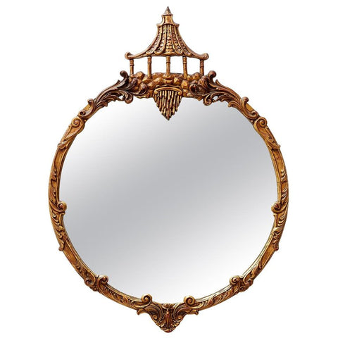 Italian Round Chinoiserie Mirror with Pagoda Crown