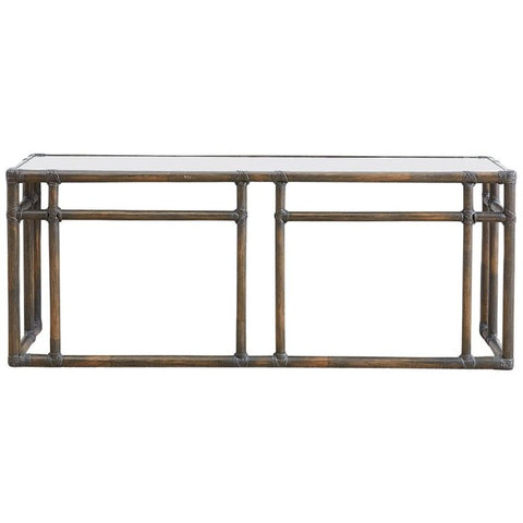 McGuire Bamboo Rattan Mirror Top Console Table
