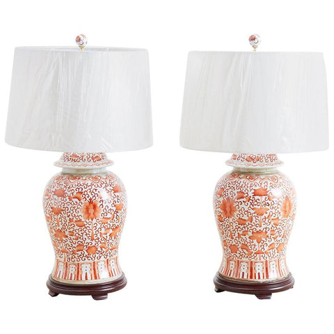 Chinese Porcelain Floral Ginger Jar Lamps