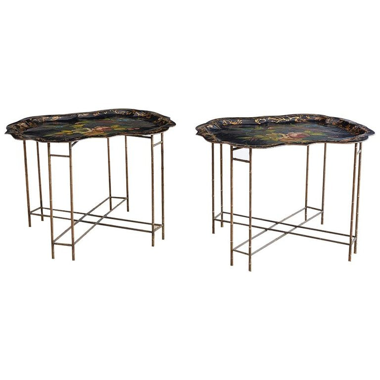 English Faux Bamboo Toleware Tray Tables