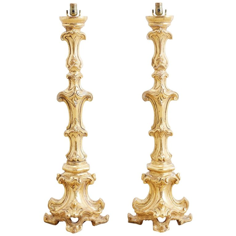 Italian Rococo Giltwood Pricket Candlestick Lamps