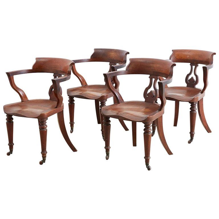 19th Century English Mahogany Captain's Pub Chairs