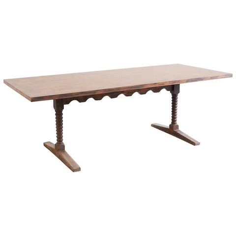 English Library Trestle Table or Refectory Table