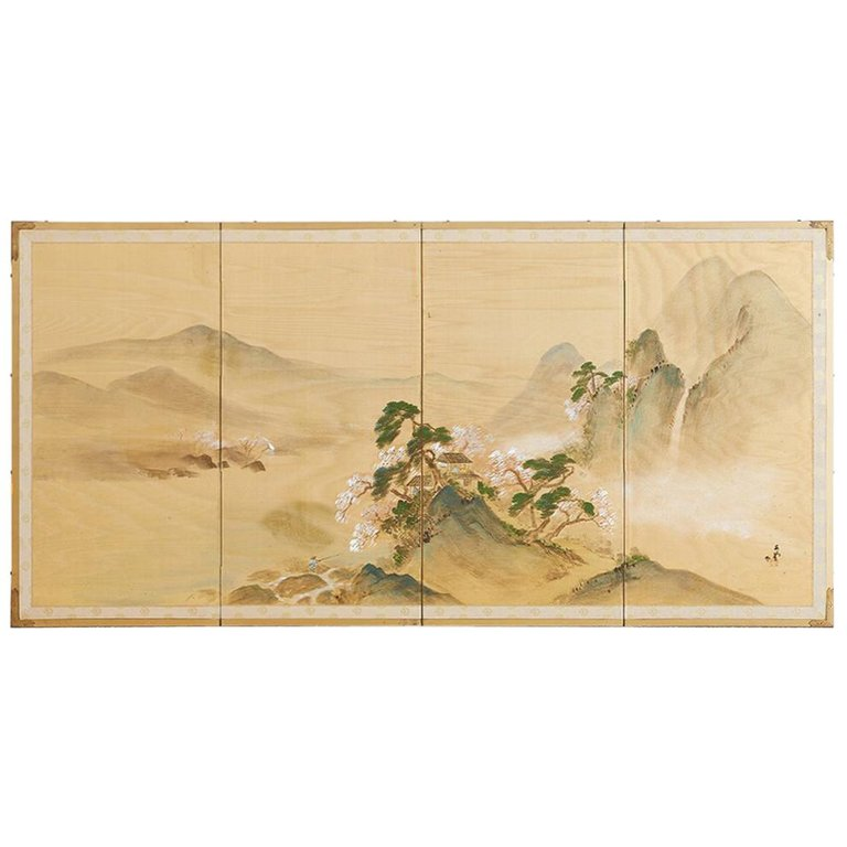 Japanese Four-Panel Silk Landscape Byobu Screen
