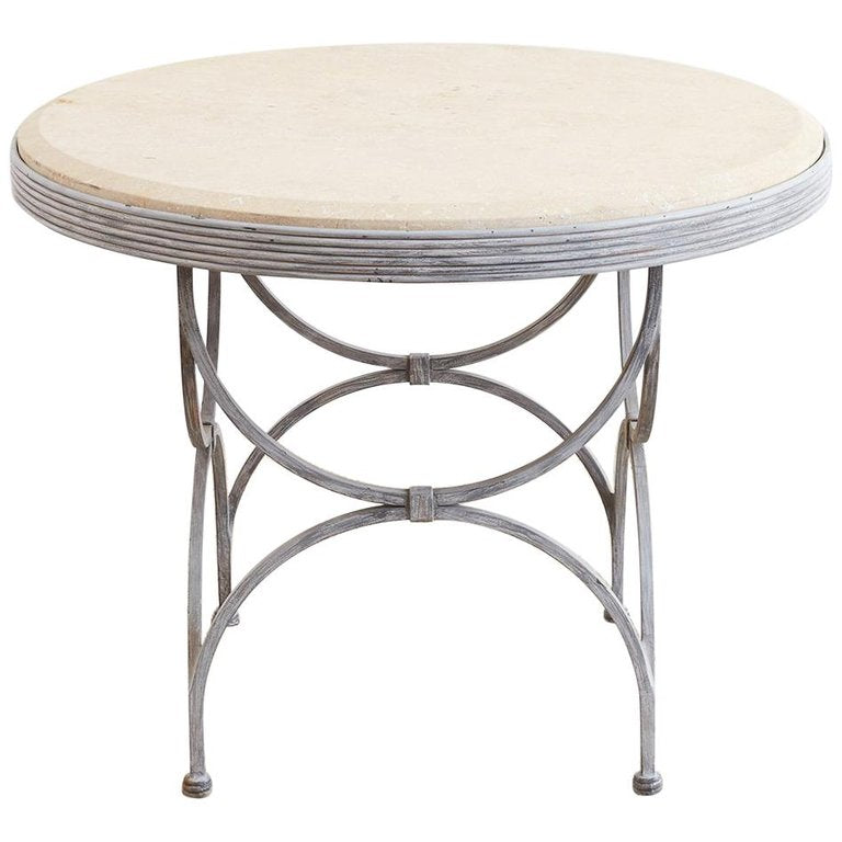 Neoclassical Iron and Stone Patio Garden Table