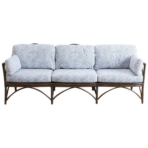 McGuire Blue and White Upholstered Bamboo Rattan Sofa