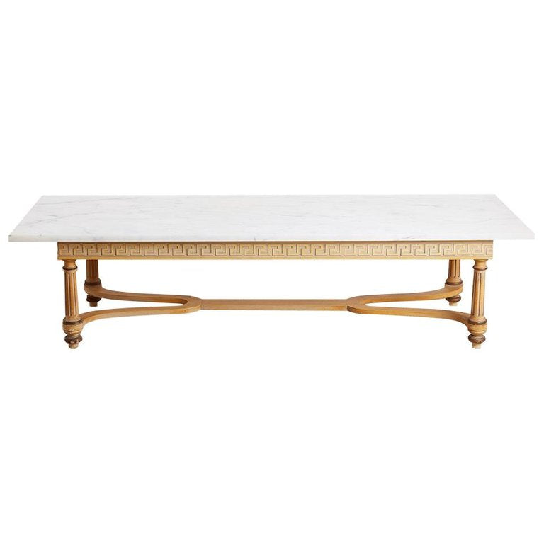 Italian Neoclassical Marble-Top Coffee Cocktail Table
