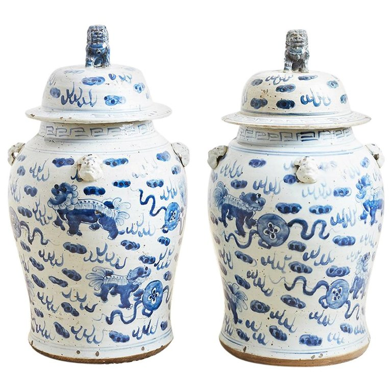 Pair of Chinese Blue and White Ginger Jars and Foo Dogs