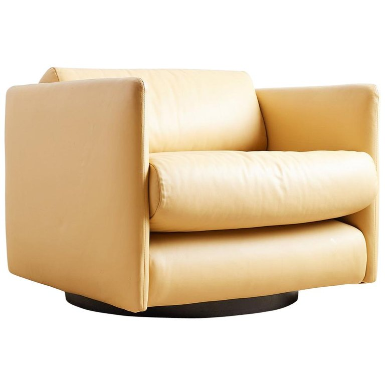 Harvey Probber Style Leather Cube Swivel Chair