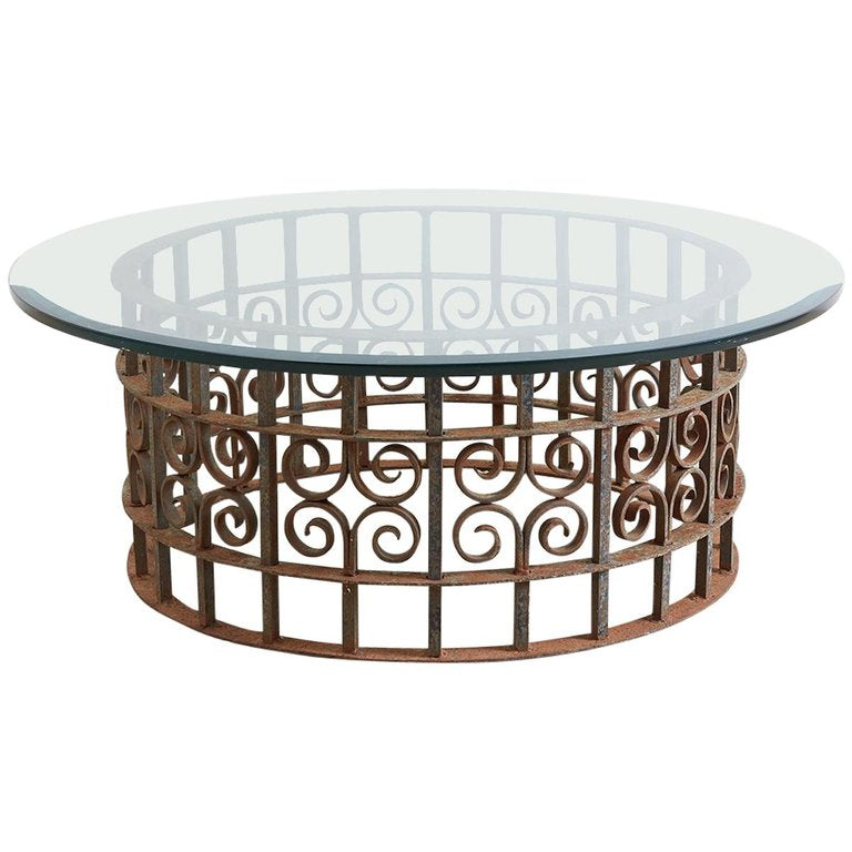 Spanish Style Wrought Iron Round Cocktail Table