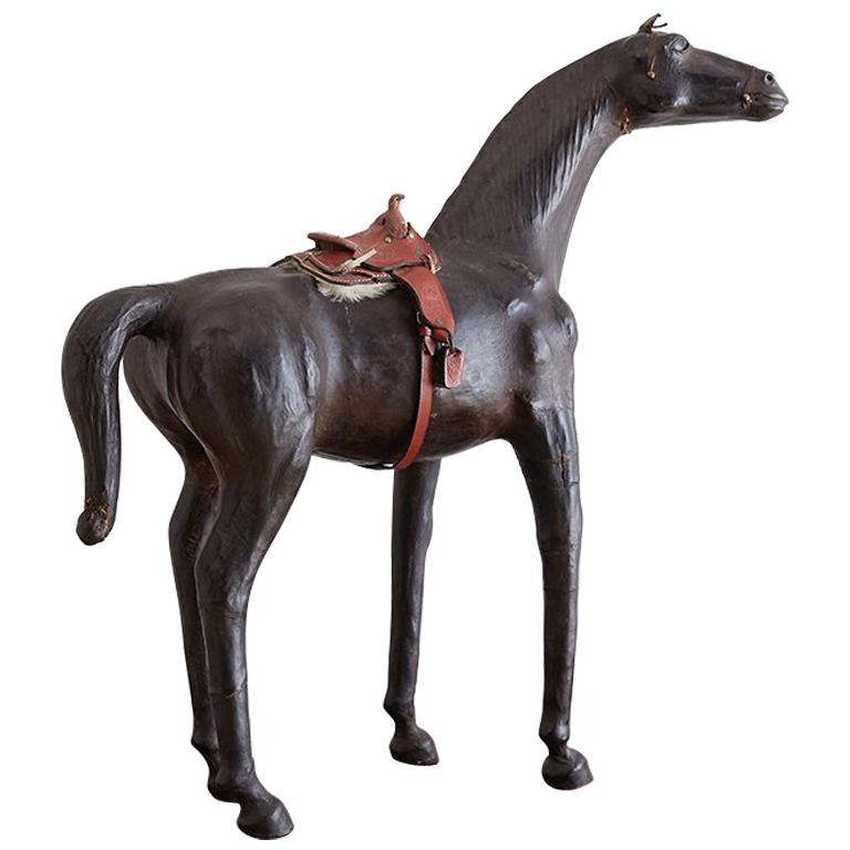Mid Century Leather Thoroughbred Horse Sculpture