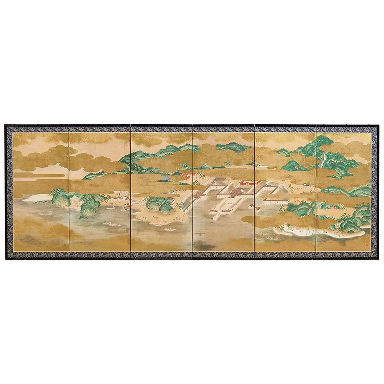 Japanese Six Panel Kano School Style Screen