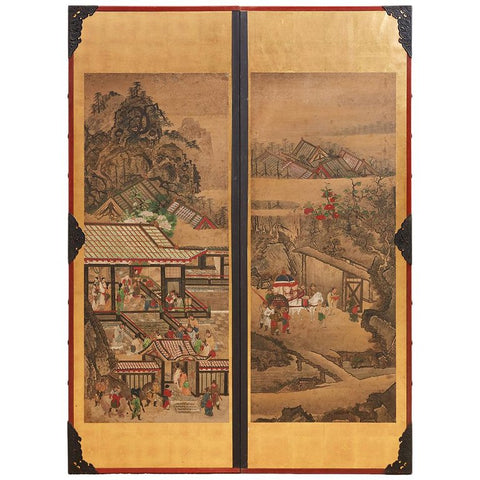 Pair of Japanese Scrolls Mounted as Panels