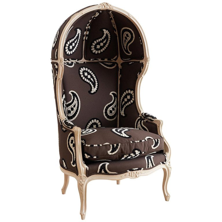 French Louis XV Style Upholstered Canopy Porters Chair