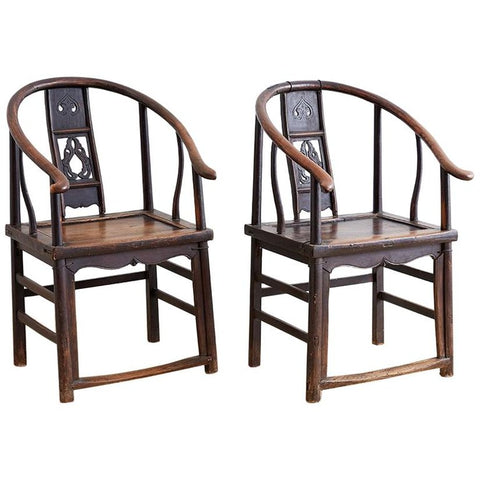 Pair of Chinese Provincial Qing Horseshoe Chairs