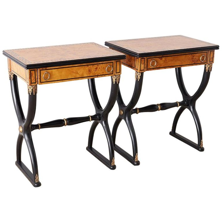 French Charles X Neoclassical Table or Nightstands