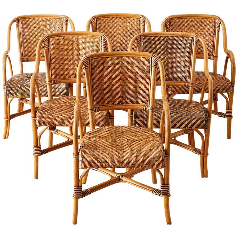 Woven French Bistro Style Rattan Dining Chairs
