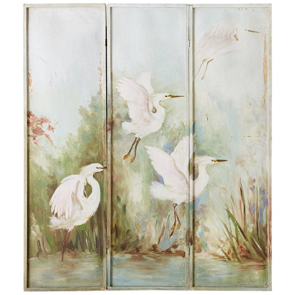 Continental Painted Folding Screen of Four Cranes
