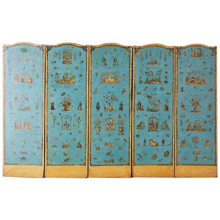 19th Century French Chinoiserie Decoupage Six Panel Screen