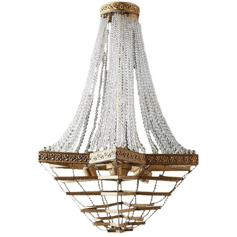 French Art Deco Six-Light Crystal Rope Chandelier