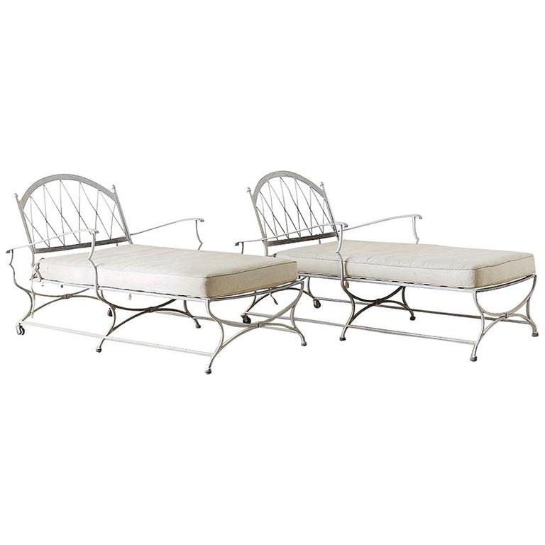 Pair of Neoclassical Cast Iron Chaise Lounges