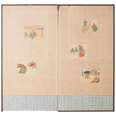 Japanese Taisho Period Byobu Screen with Noh Scenes