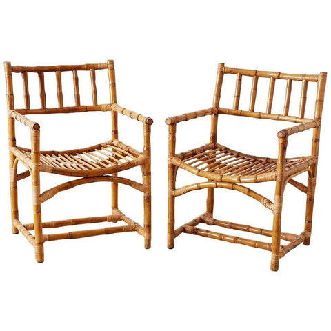 Important Pair of Early McGuire Bamboo Rattan Armchairs