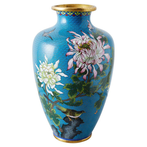 Chinese Cloisonne Chrysanthemum Flower Vase