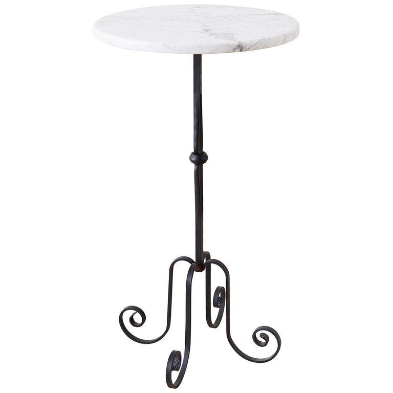 Wrought Iron and Marble Top Drinks Table