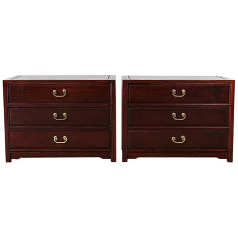Pair of Chinese Rosewood Bedside Chests or Commodes
