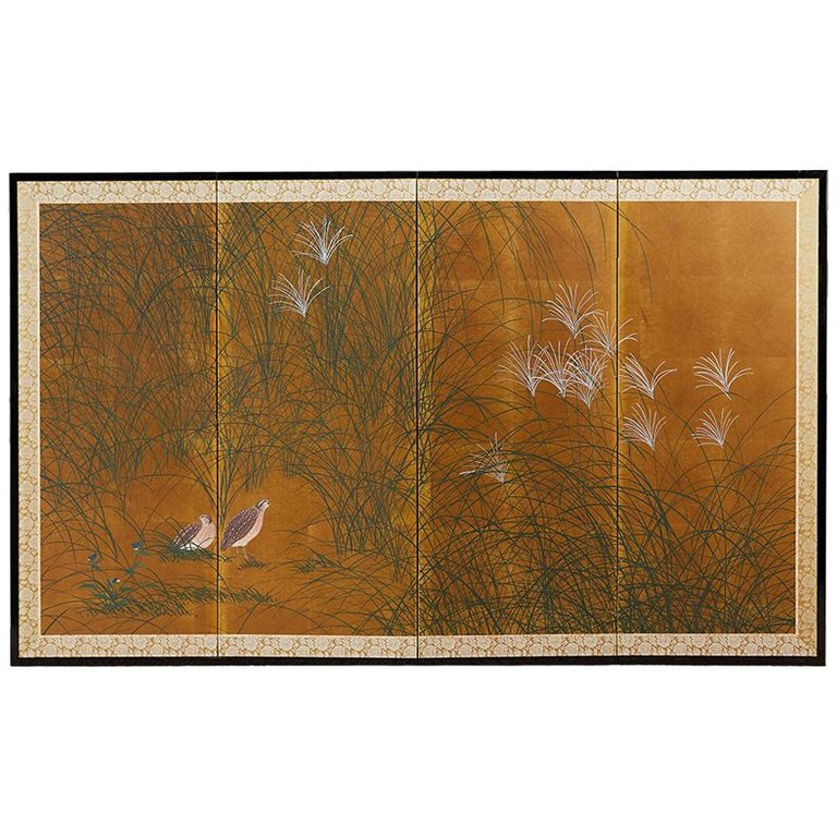 Japanese Four-Panel Byobu Screen of Quail in Grass