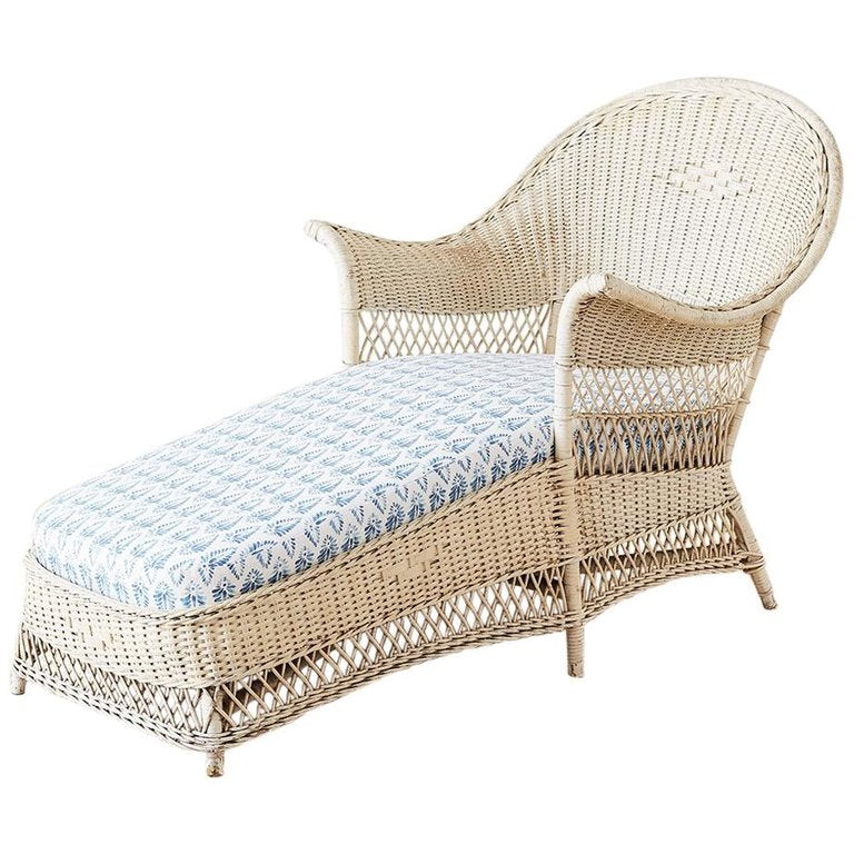 Painted Bar Harbor Willow and Wicker Chaise Lounge