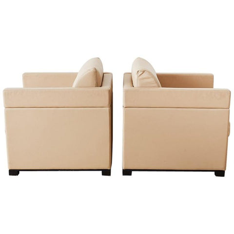 Pair of Geiger for Herman Miller Leather Cube Chairs