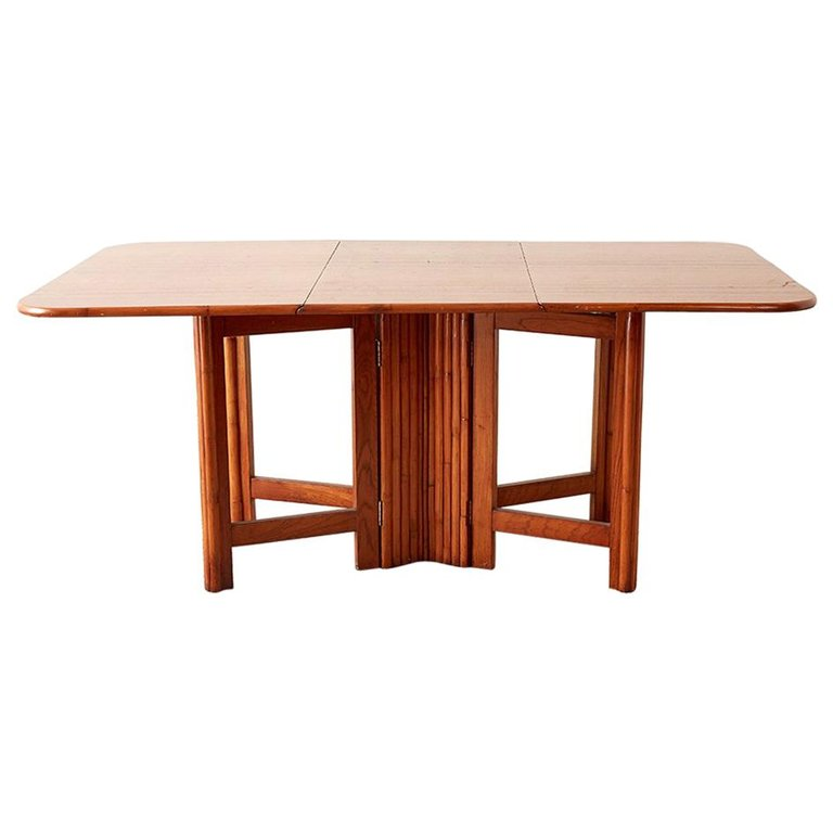 Midcentury Drop-Leaf Dining Table with Rattan Base