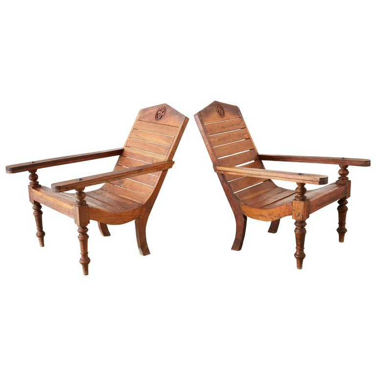 Pair of British Colonial Teak Plantation Chairs