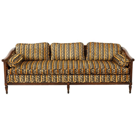 Mid Century Upholstered Walnut Three Seat Sofa