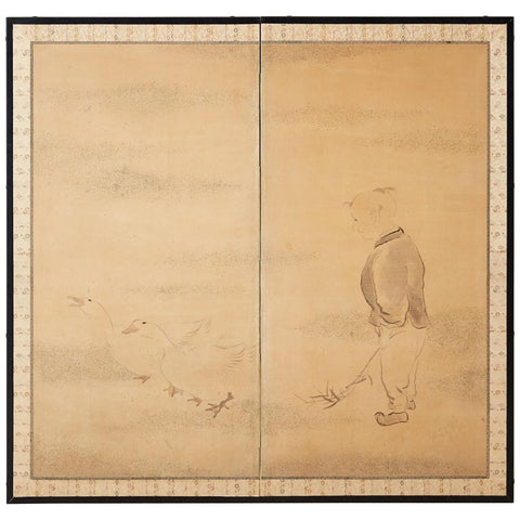 Japanese Two Panel Screen of Child with Geese