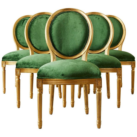 Louis XVI Emerald Green Velvet Gilt Dining Chairs