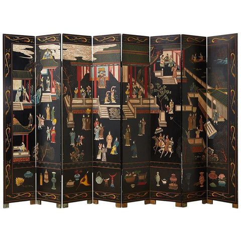 Chinese Export Eight-Panel Coromandel Screen