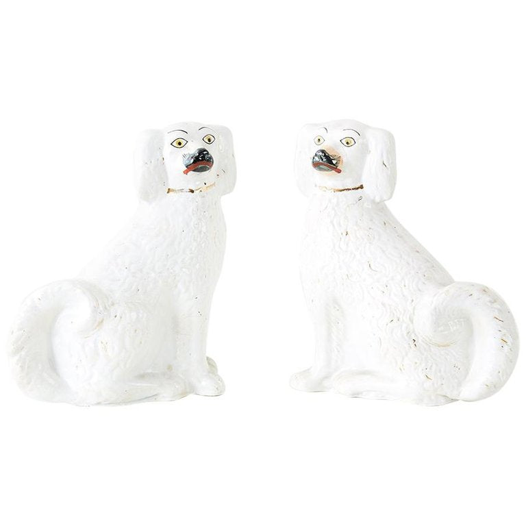 Pair of White English Staffordshire Spaniels