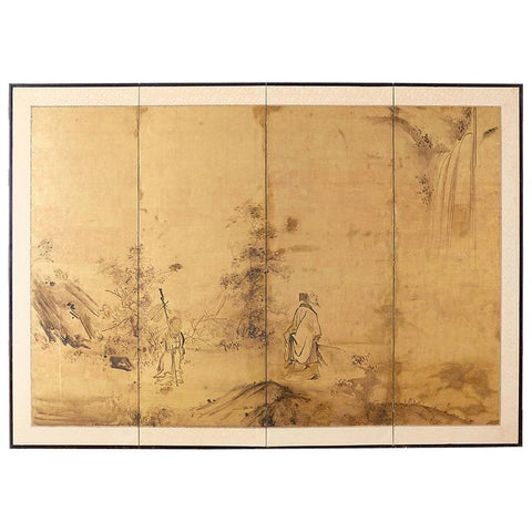 18th Century Japanese Four Panel Kano School Screen
