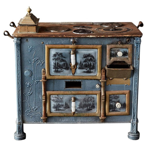 French Art Nouveau Enameled Blue Stove or Oven
