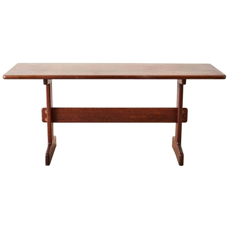 Midcentury Gerald McCabe African Shedua Trestle Table