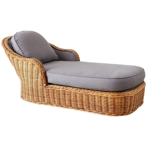 Michael Taylor Style Wicker Chaise Lounge