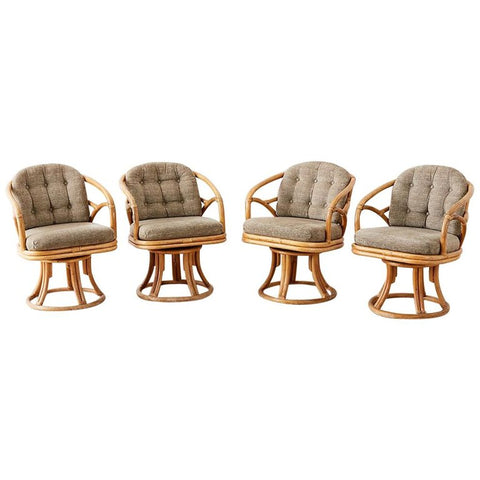 Set of Four McGuire Bamboo Rattan Swivel Armchairs
