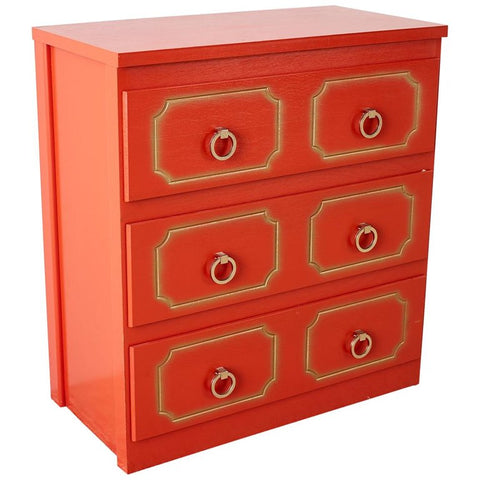 Dorothy Draper Style Coral Red Commode or Chest
