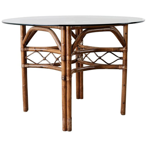 Brown Jordan Bamboo Rattan Glass Dining Table