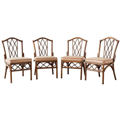 Set of Four Brown Jordan Rattan Dining Chairs