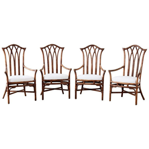 Chinese Pagoda Style Bamboo Rattan Dining Chairs