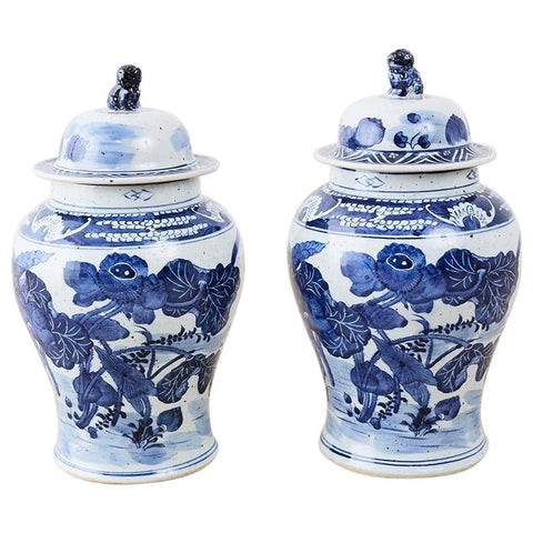 Pair of Chinese Blue and White Floral Ginger Jar